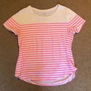 White T-shirt with pink stripes